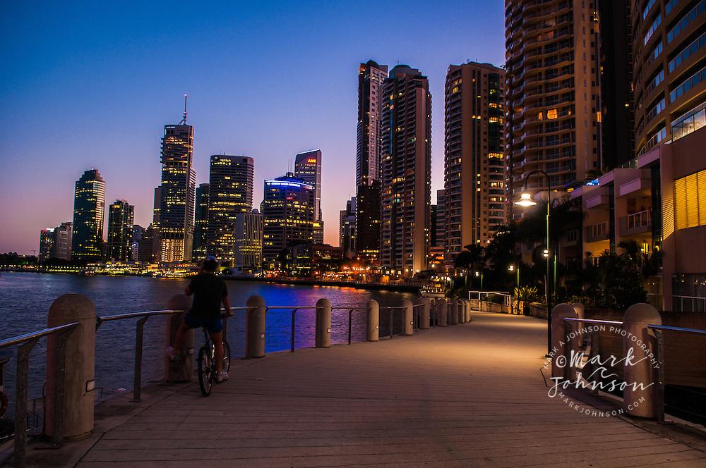 Brisbane city from Riverside Walkway, Queensland, Australia