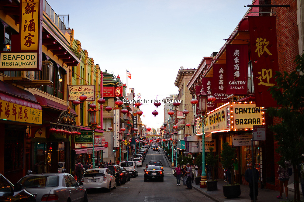Streets of Chinatown in San Francisco, California.