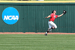 17 April 2016:  Daniel Dwyer pulls in a ball at the warning track during an NCAA Division I Baseball game between the Southern Illinois Salukis and the Illinois State Redbirds in Duffy Bass Field, Normal IL
