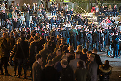 "© Licensed to London News Pictures . 03/11/2017 . Manchester , UK . Hundreds of fans of Tommy Robinson (real name Stephen Yaxley-Lennon ) queue up for books at the launch of the former EDL leader's book "" Mohammed's Koran "" at Castlefield Bowl . Originally planned as a ticket-only event at Bowlers Exhibition Centre , the launch was moved at short notice to a public location in the city . Photo credit : Joel Goodman/LNP"