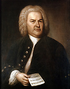Johann Sebastian Bach (1685-1750) in 1746. German composer and organist. Portrait by Elias Gottlieb Haussman. Stadtgeschichtliches Museum, Leipzig