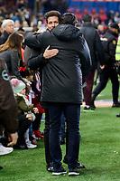 Atletico de Madrid's Coach Diego Pablo Simeone and Real Betis's Coach Victor Sanchez del Amo during La Liga match between Atletico de Madrid and Real Betis at Vicente Calderon Stadium in Madrid, Spain. January 14, 2017. (ALTERPHOTOS/BorjaB.Hojas)