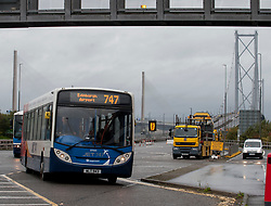 Some of the first buses to make use of the Forth Road Bridge as a new public transport priority route from today.<br /> <br /> &copy; Dave Johnston/ EEm
