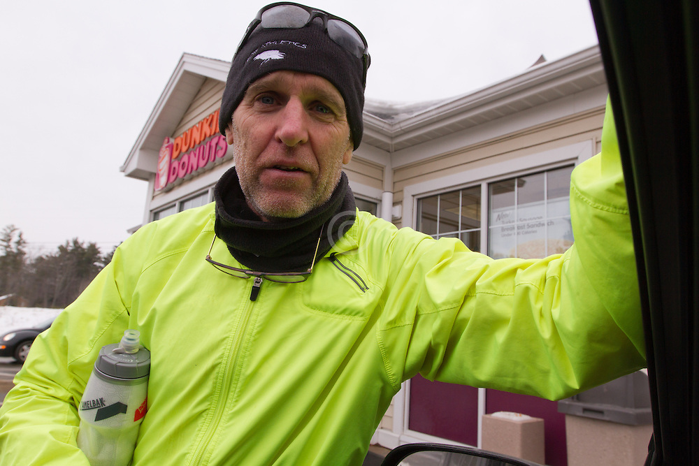 Gary Allen runs from Maine to Washington DC, fueling up at the Dunkin Donuts outside Wiscassett