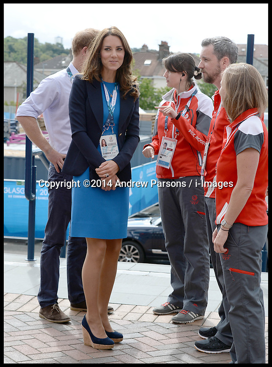 Image licensed to i-Images Picture Agency. 29/07/2014. Glasgow, United Kingdom. The Duke and Duchess of Cambridge arriving at the Athletics, Hampden Park, Glasgow on day six of the Commonwealth Games.  Picture by Andrew Parsons / i-Images