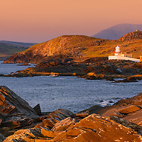 Ireland Lighthouse Valentia Island with View on Begenish Island and calm sea, Iveragh Peninsula, Ireland  / vl109