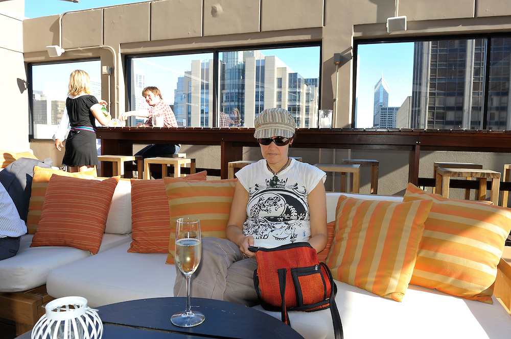 C-View Lounge at Affinia Hotel, Rooftop Bar, Chicago, Illinois, USA