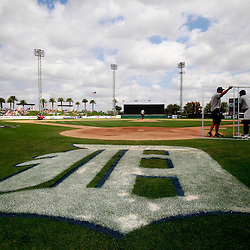 March 9, 2011; Lakeland, FL, USA; A general view as grounds keepers prepare the field for a spring training exhibition game between the Philadelphia Phillies and the Detroit Tigers at Joker Marchant Stadium.   Mandatory Credit: Derick E. Hingle