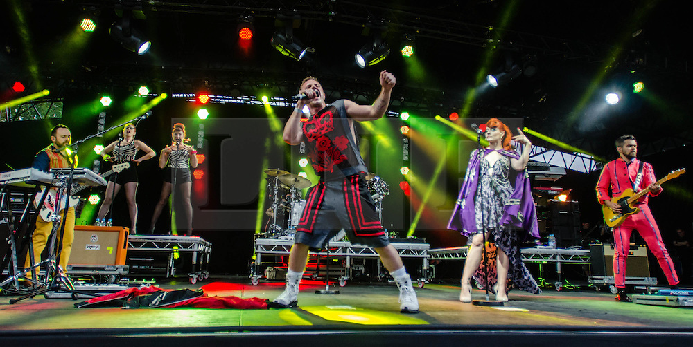 © Licensed to London News Pictures. 21/07/2012. London, UK.  Scissor Sisters perform live for BT's River of Music at the Americas stage, Tower Bridge.  Photo credit : Richard Isaac/LNP
