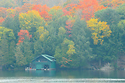 Boathouse in fog in autumn<br /> Muskoka<br /> Ontario<br /> Canada