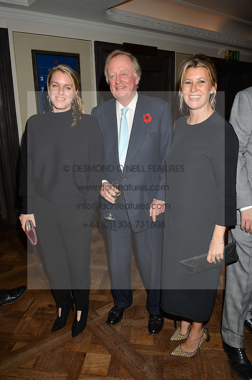 Left to right, LAURA LOPES, ANDREW PARKER BOWLES and SARA PARKER BOWLES at a party hosted by Ewan Venters CEO of Fortnum & Mason to celebrate the launch of The Cook Book by Tom Parker Bowles held at Fortnum & Mason, 181 Piccadilly, London on 18th October 2016.