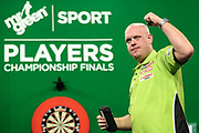 Michael van Gerwen celebrates his victory over Jan Dekker during the PDC Darts Players Championship at  at Butlins Minehead, Minehead, United Kingdom on 26 November 2017. Photo by Shane Healey.
