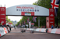 The Runners up cross the finish line at the Hand Cycling Race during The Prudential RideLondon Sunday 2nd August 2015. <br /> <br /> Prudential RideLondon is the world's greatest festival of cycling, involving 95,000+ cyclists – from Olympic champions to a free family fun ride - riding in five events over closed roads in London and Surrey over the weekend of 1st and 2nd August 2015. <br /> <br /> Photo: Paul Gregory<br /> <br /> See www.PrudentialRideLondon.co.uk for more.<br /> <br /> For further information: Penny Dain 07799 170433<br /> pennyd@ridelondon.co.uk