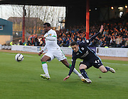 Effe Ambrose takes the ball away from Alex Harris - Dundee v Celtic - SPFL Premiership at Dens Park<br /> <br /> <br />  - &copy; David Young - www.davidyoungphoto.co.uk - email: davidyoungphoto@gmail.com