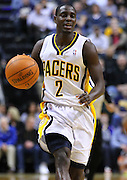 Feb. 21, 2012; Indianapolis, IN, USA; Indiana Pacers point guard Darren Collison (2) brings the ball up court against the New Orleans Hornets at Bankers Life Fieldhouse. Indiana defeated New Orleans 117-108. Mandatory credit: Michael Hickey-US PRESSWIRE