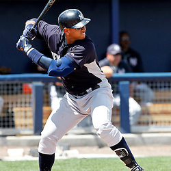 March 21, 2012; Port Charlotte, FL, USA; New York Yankees third baseman Alex Rodriguez (13) at bat against the Tampa Bay Rays during the top of the fourth inning of a spring training game at Charlotte Sports Park.  Mandatory Credit: Derick E. Hingle-US PRESSWIRE