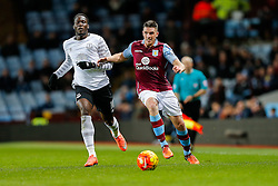 Ciaran Clark of Aston Villa is challenged by Romelu Lukaku of Everton - Mandatory byline: Rogan Thomson/JMP - 01/03/2016 - FOOTBALL - Villa Park Stadium - Birmingham, England - Aston Villa v Everton - Barclays Premier League.