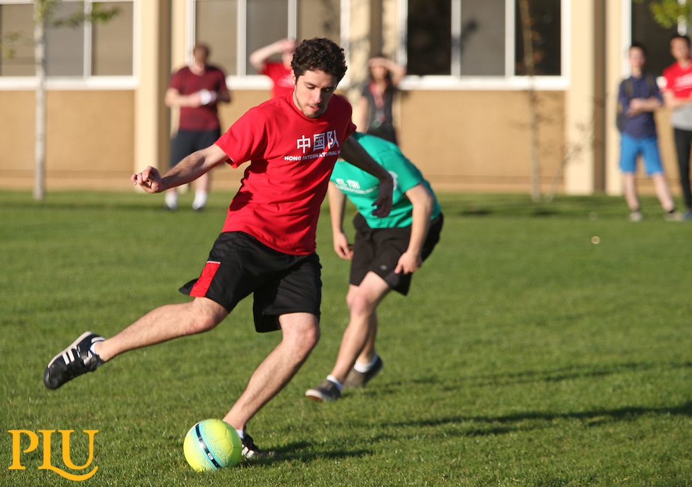 Language departments Wold Cup style soccer match pitting French, German, Chinese  and Spanish against each other in soccer matches on Foss Field at PLU on Thursday, May 7, 2015. (Photo/John Froschauer)