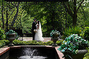bride and groom at Cleveland Cultural Gardens by Akron wedding photographer Mara Robinson