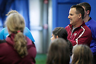 Chester, New York - Frozen Ropes founder and instructional director Tony Abbatine speaks during a cliinic on hitting at the first anniversary open house celebration at The Rock Sports Park on Nov. 12, 2011.