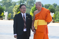 June 14, 2018 - Chiang Rai, Thailand - (Right-Left) Boonrak Yodpetch, secretary-general of the Office of the Basic Education Commission (Obec) during his visit to Wat Huay Pla Kung with Pra Ajarn Phob Chok, the monk from Wat Huay Pla Kung. .On Friday, June 15, 2018, in Chiang Rai, Thailand. (Credit Image: © Artur Widak/NurPhoto via ZUMA Press)