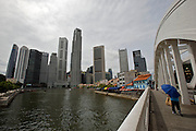 Elgin Bridge. View towards Singapore River and the skyscrapers at Financial District.