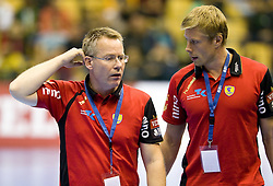 Head coach of RNL Gudmundur Gudmundsson and his assistant Sven Raab during Velux EHL Champions league 2010/2011 Group A men handball match between HC Celje Pivovarna Lasko of Slovenia and Rhein-Neckar Loewen of Germany, on October 2, 2010 in Arena Zlatorog, Celje, Slovenia. Rhein-Neckar Löwen defeated Celje Pivovarna Lasko 32 - 28. (Photo By Vid Ponikvar / Sportida.com)