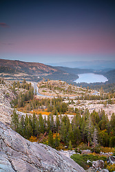 """Donner Lake Sunset 49"" - Photograph of Donner Lake, Rainbow Bridge, and fall foliage shot at sunset."