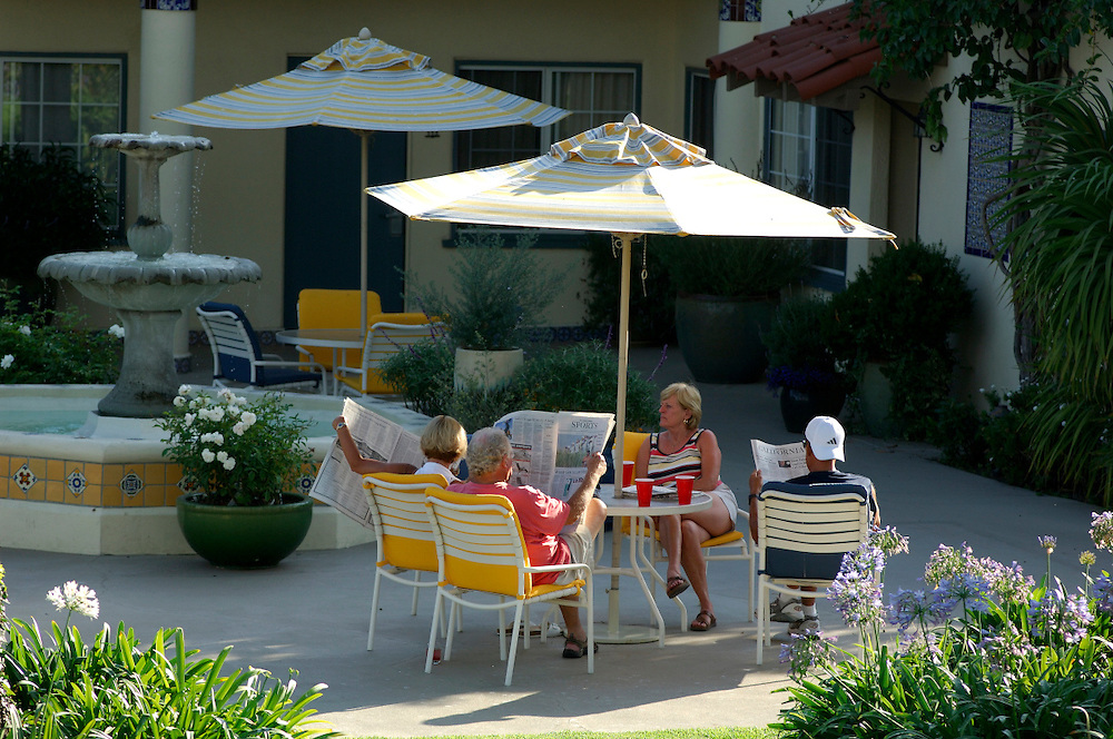 People relaxing in Sun chairs, Santa Barbara, California, United States of America