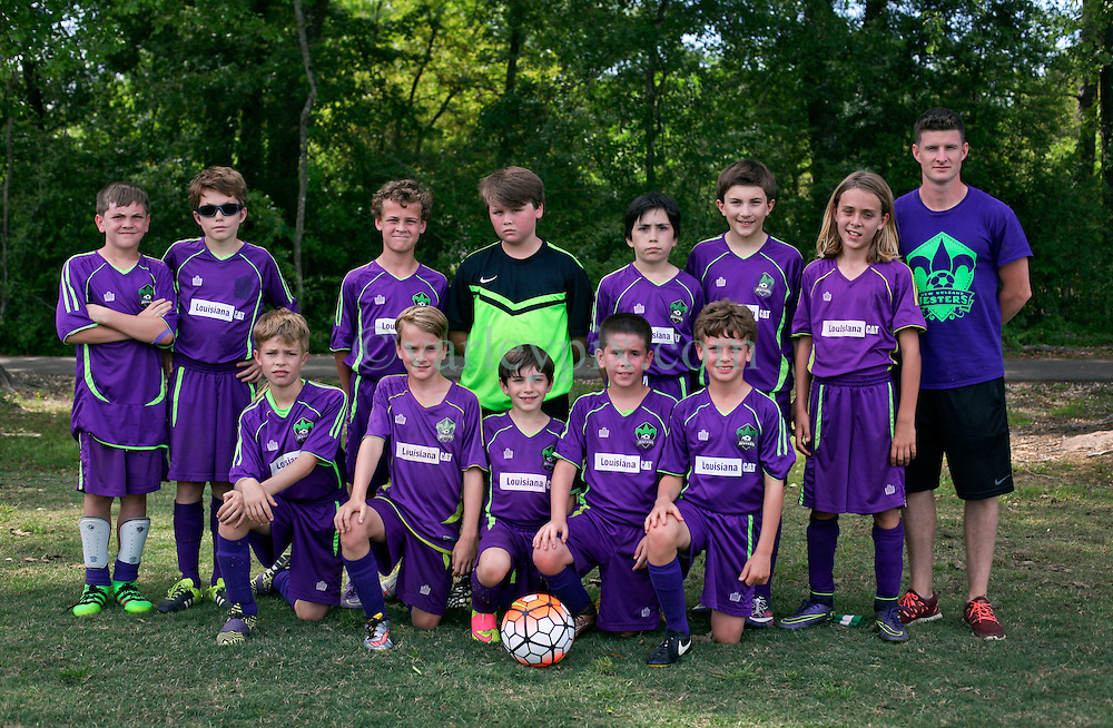 09 April 2016. Hammond, Louisiana.<br /> South Tangi Youth Soccer Association (STYSA), Chappapeela Sports Complex, 30th Annual Strawberry Cup,  <br /> New Orleans Jesters Youth Academy U11 Purple. <br /> Photo©; Charlie Varley/varleypix.com
