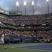 Andy Roddick, USA, heads back to his seat after losing to Juan Martin Del Potro, Argentina, during the US Open Tennis Tournament, Flushing, New York. USA. 5th September 2012. Photo Tim Clayton