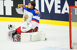 Sergei Bobrovski of Russia drinking during Ice Hockey match between Russia and Denmark at Day 6 in Group B of 2015 IIHF World Championship, on May 6, 2015 in CEZ Arena, Ostrava, Czech Republic. Photo by Vid Ponikvar / Sportida