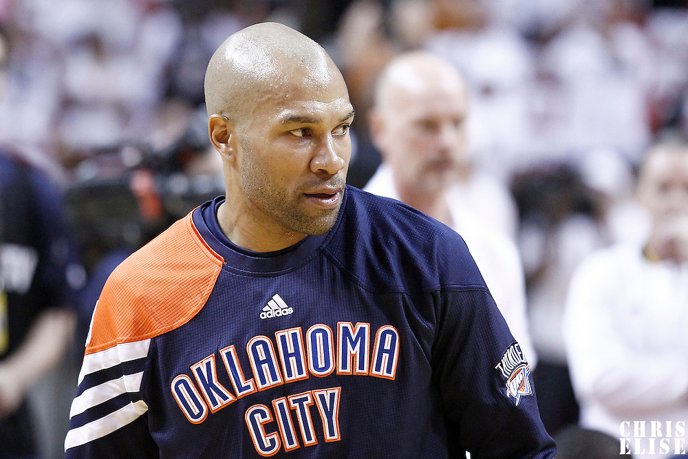 19 June 2012: Oklahoma City Thunder point guard Derek Fisher (37) warms up prior to the Miami Heat 104-98 victory over the Oklahoma City Thunder, in Game 4 of the 2012 NBA Finals, at the AmericanAirlinesArena, Miami, Florida, USA.