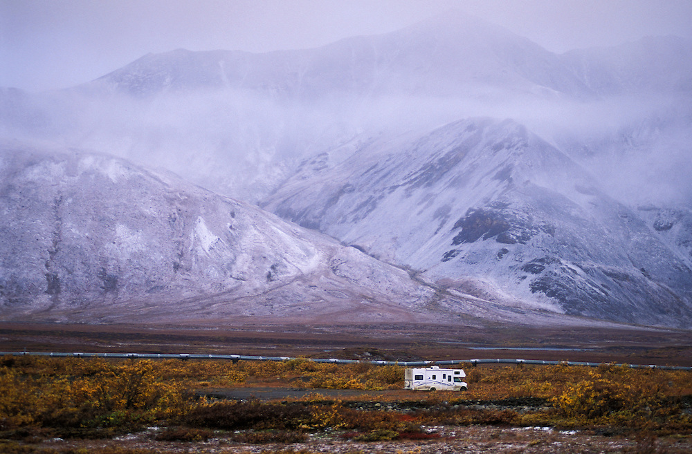 Motorhome at Atigun Pass, Dalton Highway, Alaska, USA