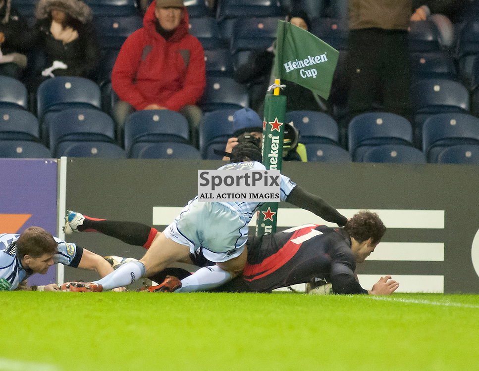 Tim Visser scores in the corner, Edinburgh Rugby v Cardiff Blues, Heineken Cup