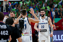Vlatko Cancar of Slovenia and Ziga Dimec of Slovenia after the Final basketball match between National Teams  Slovenia and Serbia at Day 18 of the FIBA EuroBasket 2017 at Sinan Erdem Dome in Istanbul, Turkey on September 17, 2017. Photo by Vid Ponikvar / Sportida