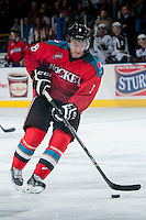 KELOWNA, CANADA - MARCH 15: Colten Martin #8 of the Kelowna Rockets skates with the puck against the Vancouver Giants on March 15, 2014 at Prospera Place in Kelowna, British Columbia, Canada.   (Photo by Marissa Baecker/Getty Images)  *** Local Caption *** Colten Martin;