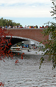 Boston, USA, Sculler passing under Eliot Bridge  Head of the Charles, Race Charles River,  Cambridge,  Massachusetts. Saturday  20/10/2007 [Mandatory Credit Peter Spurrier/Intersport Images]..... , Rowing Course; Charles River. Boston. USA