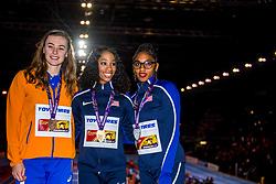 04-03-2018 GBR: World Indoor Championships Athletics day 4, Birmingham<br /> Nadine Visser NED, 60 Metres Hurdles pakt de bronze medaille. De Nederlandse eindigde in 7,84 als derde achter de Amerikaansen Kendra Harrison (7,70) en Christina Manning (7,79).