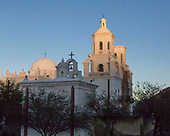San Xavier Mission after sunset