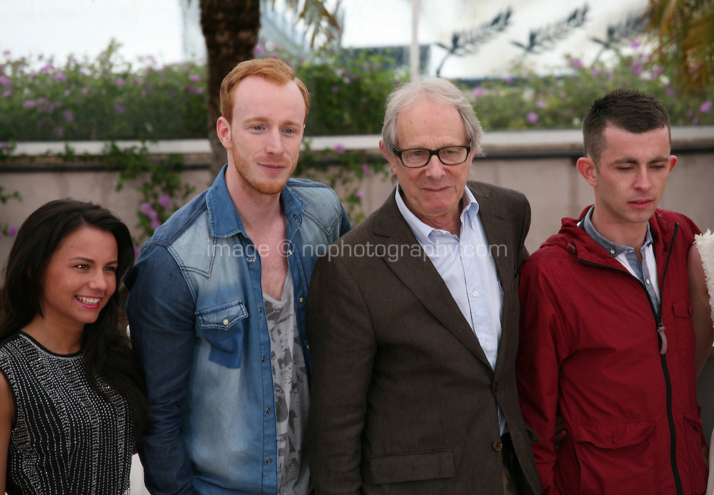 Jasmin Riggins, William Ruane, Ken Loach, Paul Brannigan, at The Angel?s Share photocall at the 65th Cannes Film Festival France. The Angel's Share is directed by Ken Loach. Tuesday 22nd May 2012 in Cannes Film Festival, France.