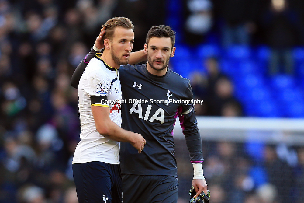 28 December 2014 - Barclays Premier League - Tottenham Hotspur v Manchester United - Hugo Lloris of Tottenham Hotspur congratulates Harry Kane at full time - Photo: Marc Atkins / Offside.