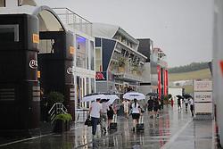 23.07.2015, Hungaroring, Budapest, HUN, FIA, Formel 1, Grand Prix von Ungarn, Vorberichte, im Bild Regen / Gewitter im Paddock // during the preperation of the Hungarian Formula One Grand Prix at the Hungaroring in Budapest, Hungary on 2015/07/23. EXPA Pictures © 2015, PhotoCredit: EXPA/ Eibner-Pressefoto/ Bermel<br /> <br /> *****ATTENTION - OUT of GER*****