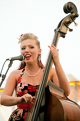 Lil' Miss Hayley Double Bassist Singer and Actress..9 September 2012.Image © Paul David Drabble