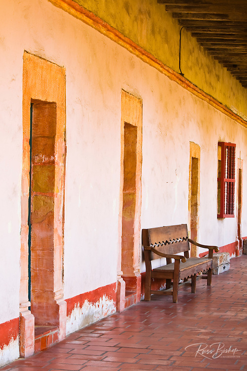 Doors and bench, Santa Barbara Mission (Queen of the missions), Santa Barbara, California