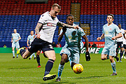 Bolton Wanderers defender David Wheater (31) and Sunderland striker Joel Asoro (29) during the EFL Sky Bet Championship match between Bolton Wanderers and Sunderland at the Macron Stadium, Bolton, England on 20 February 2018. Picture by Craig Galloway.