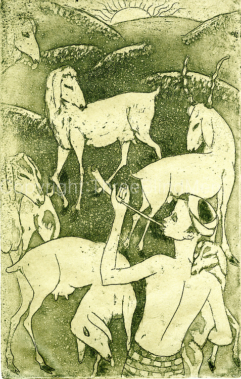 Richard Gabriel - Goats at Sunrise<br /> Etching<br /> Size - 13&quot; x 8&quot;