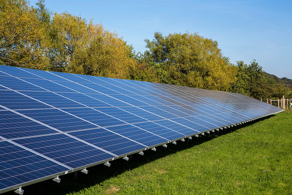 The solar pv panels at the Solar array of Low carbon Gordano, a community renewable energy project. Delivering 1,750HWh per annum. Avon, Somerset.