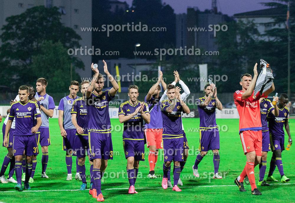 Players of Maribor celebrate after winning during football match between ND Gorica and NK Maribor in 9th Round of Prva liga Telekom Slovenije 2015/16, on September 12, 2015, in Sports centrum Nova Gorica, Slovenia. Photo by Vid Ponikvar / Sportida