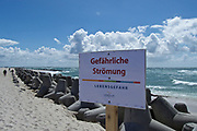 Sylt, Germany. Hörnum Odde, Southern tip of the island. Concrete Tetrapods (wave breakers) and dangerous currents.